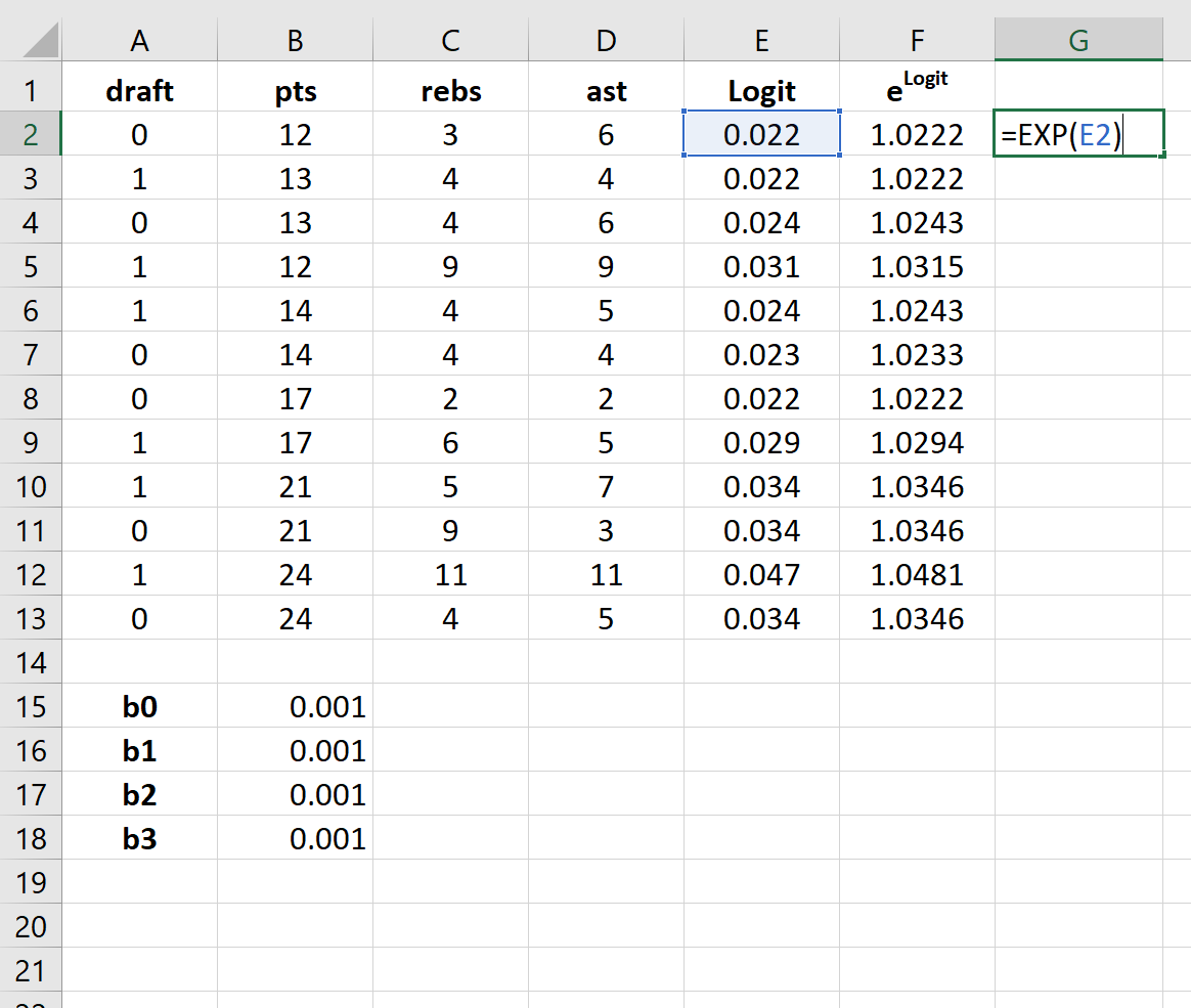 Logistic regression calculations in Excel
