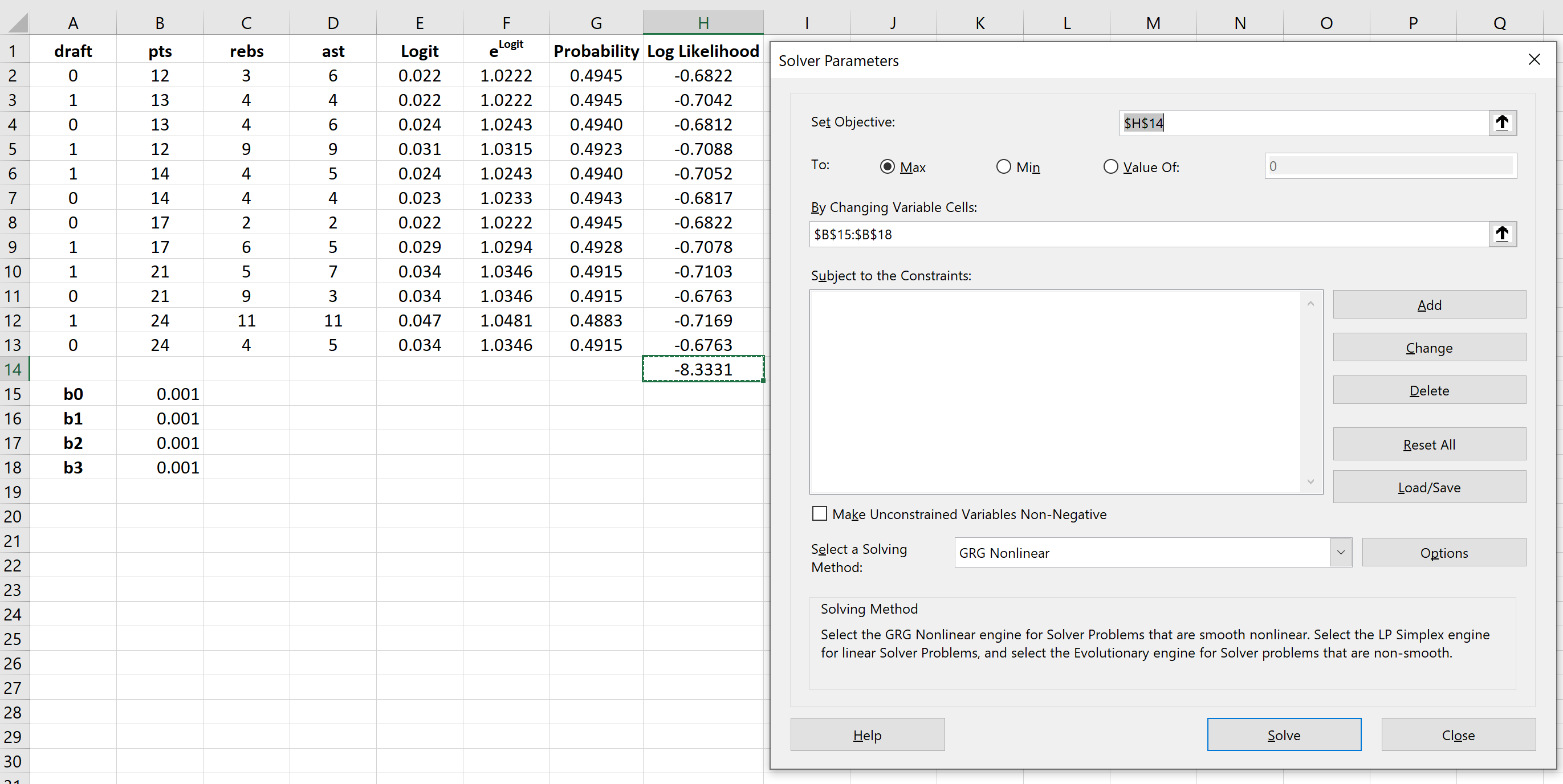 Solver for logistic regression model in Excel