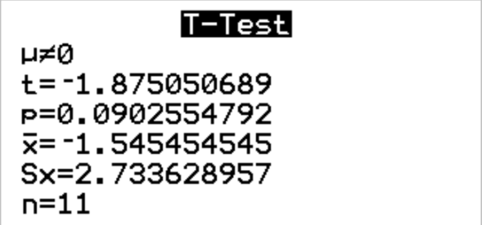Output of paired t-test on TI-84 calculator