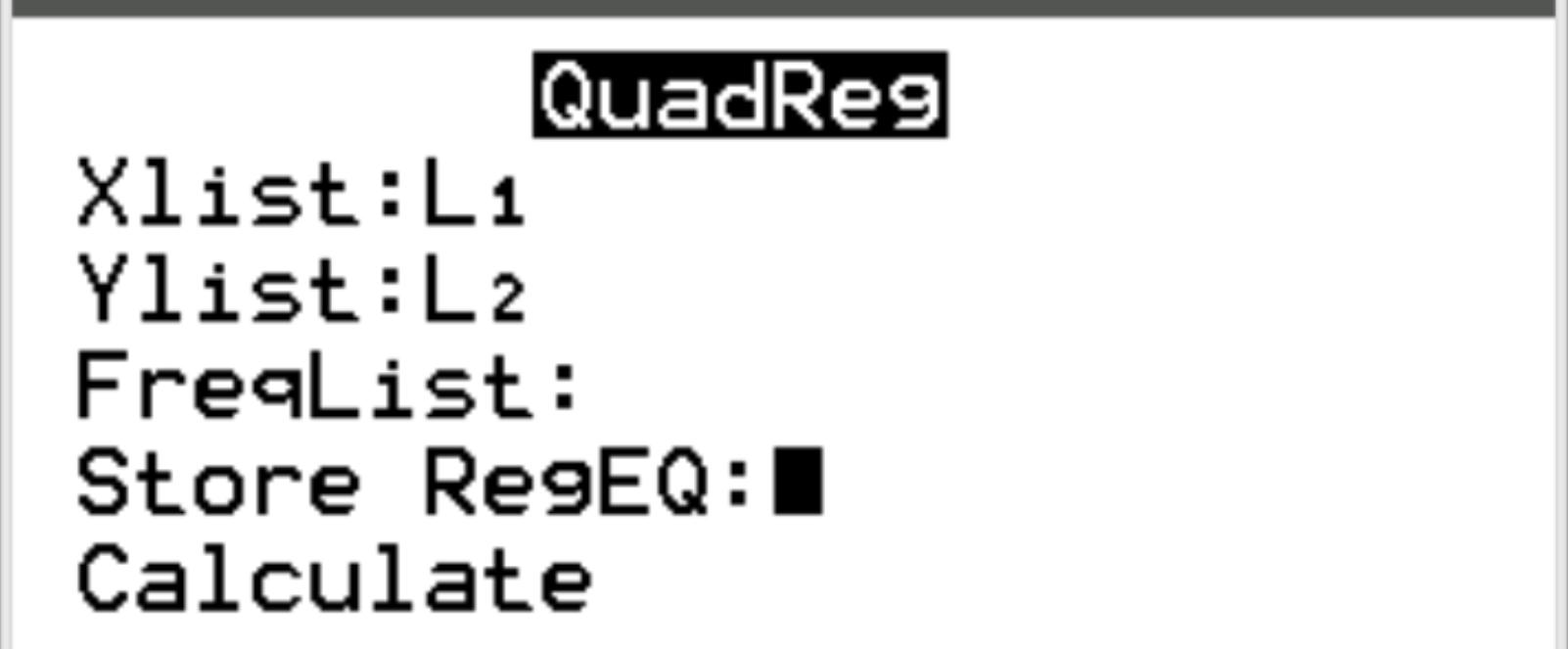 Quadratic regression example on a TI-84 calculator