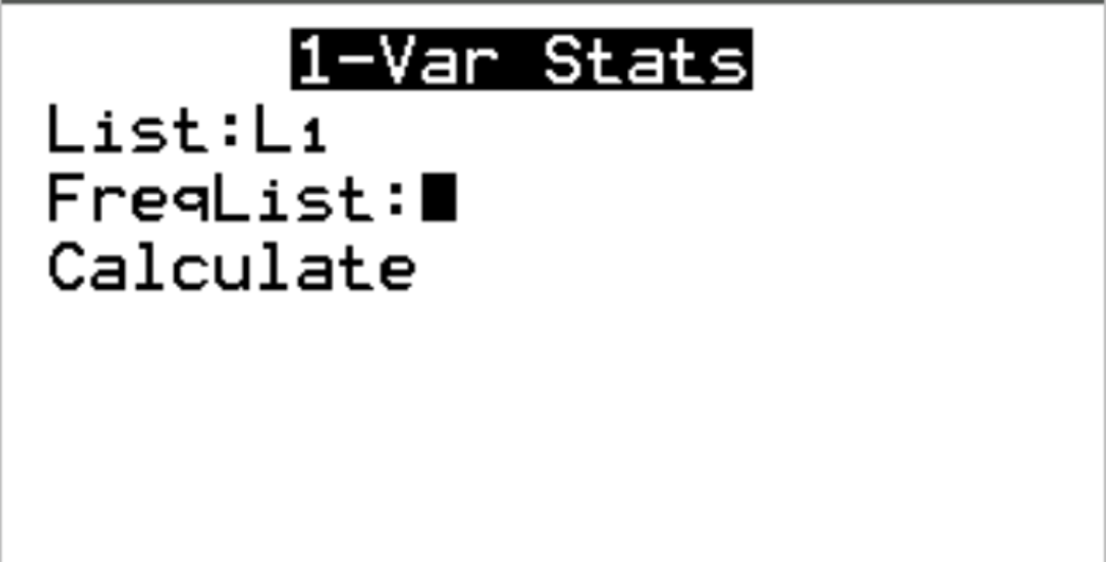 1-Var stats on TI-84 calculator