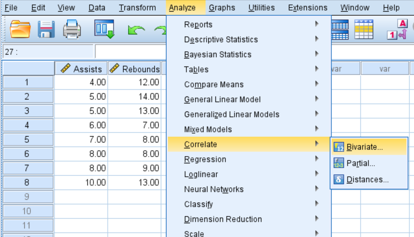 Correlate option in SPSS
