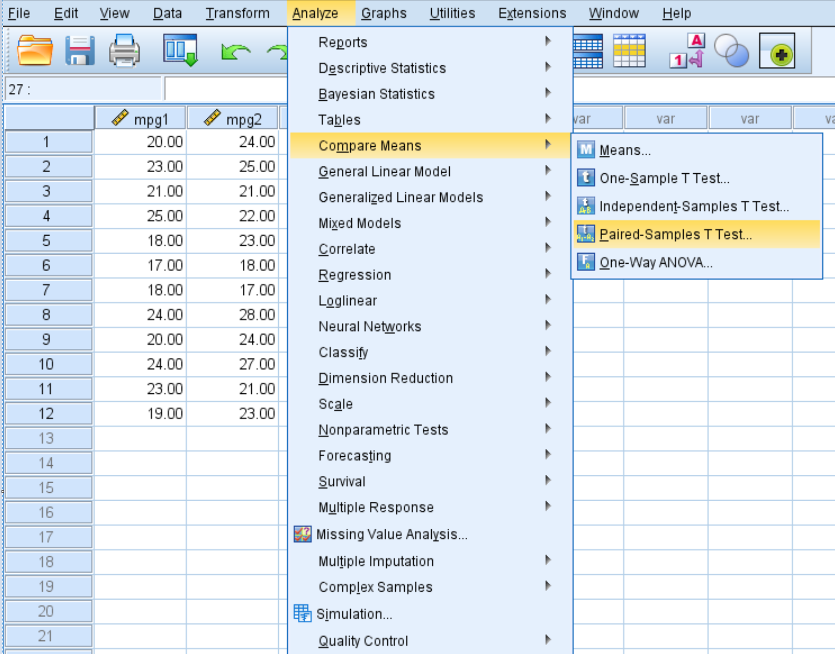 paired samples t-test in SPSS