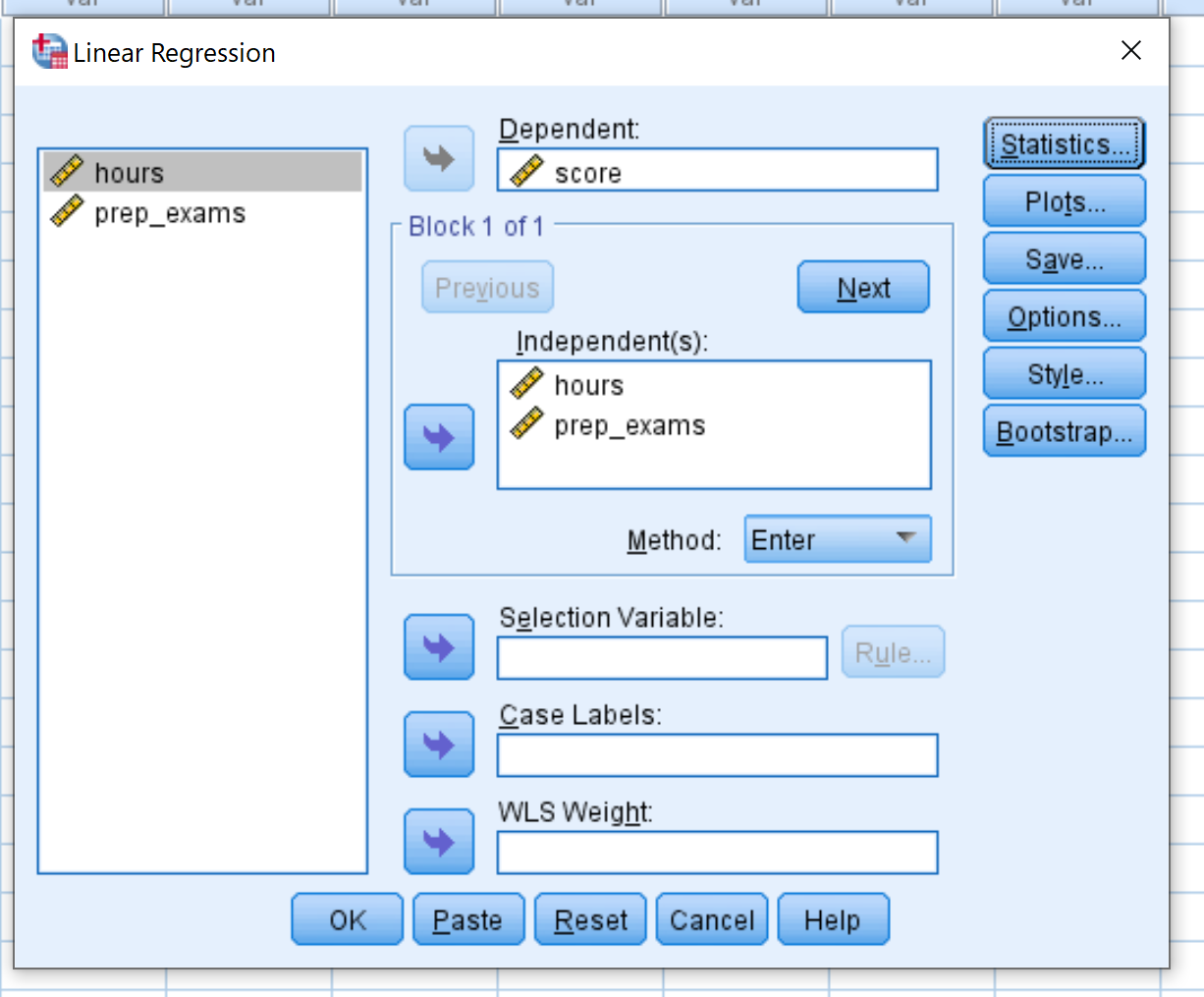 Example of multiple linear regression in SPSS