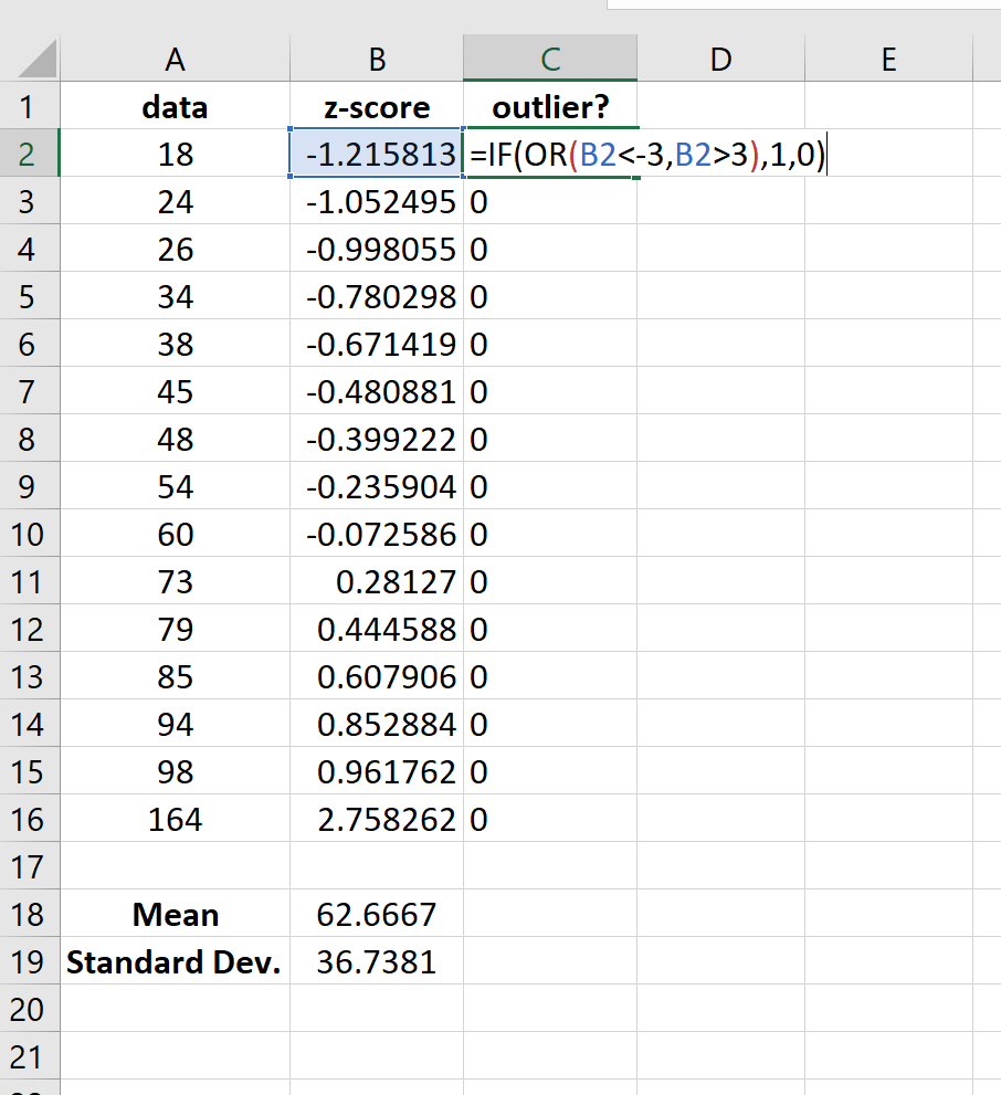 Finding outliers in Excel using z-scores