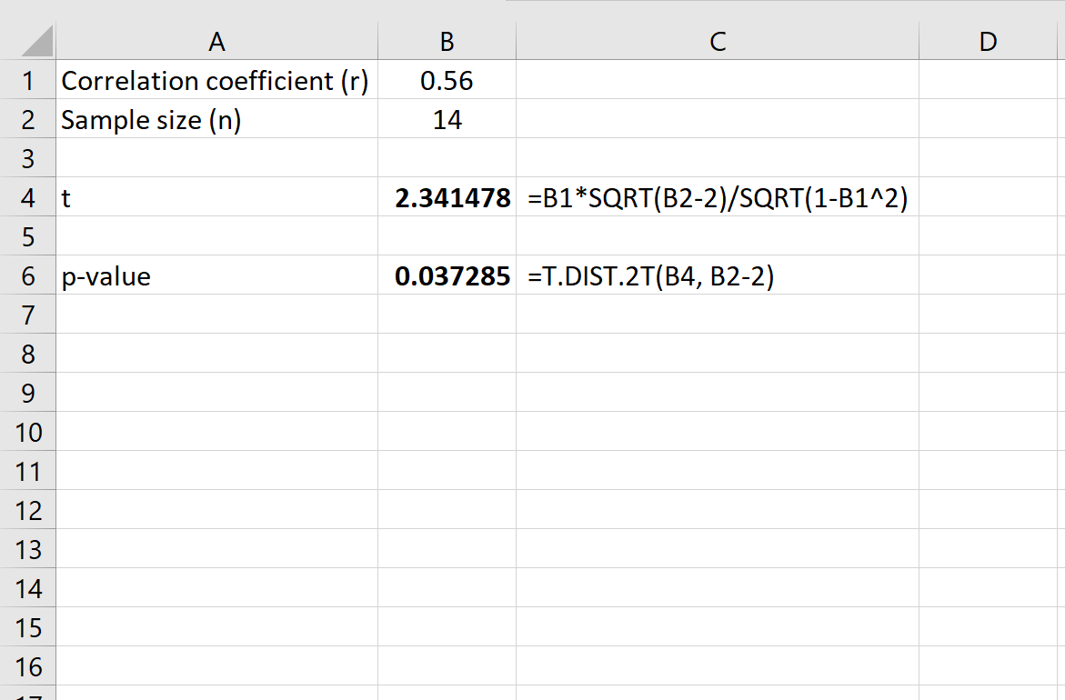 P value for a correlation coefficient in Excel