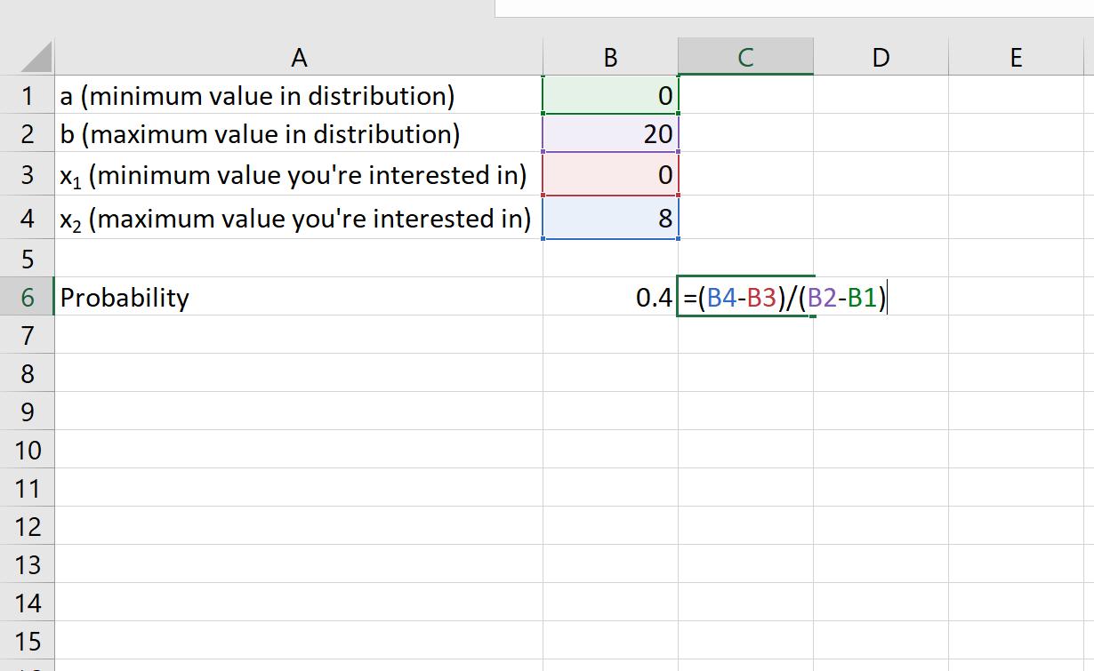 Uniform distribution in Excel