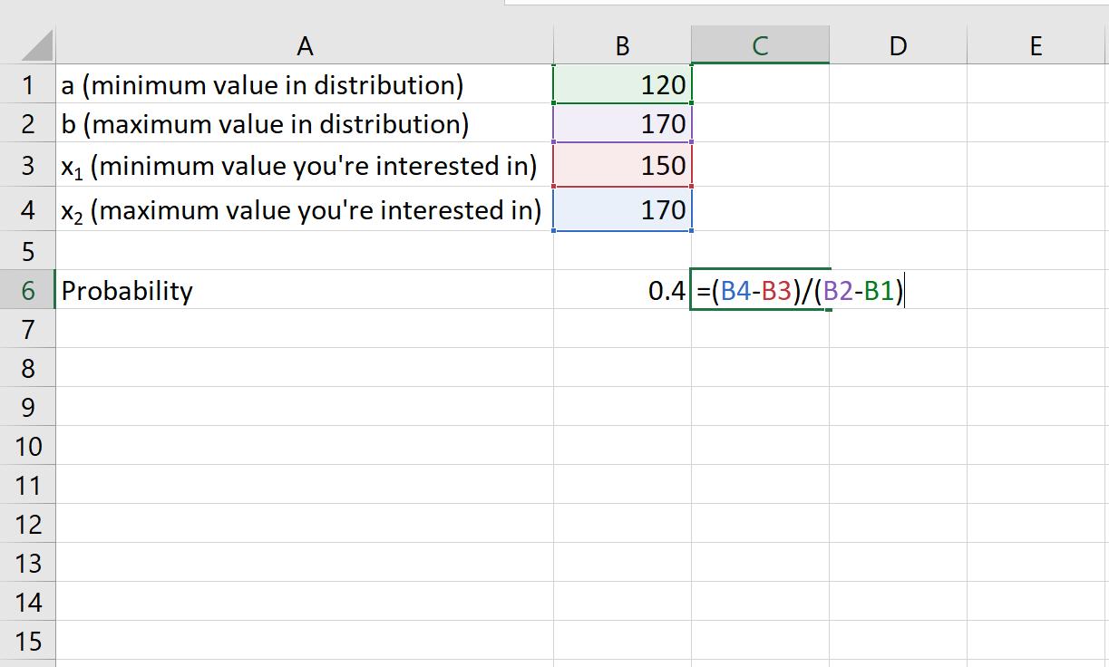 Uniform distribution probabilities in Excel