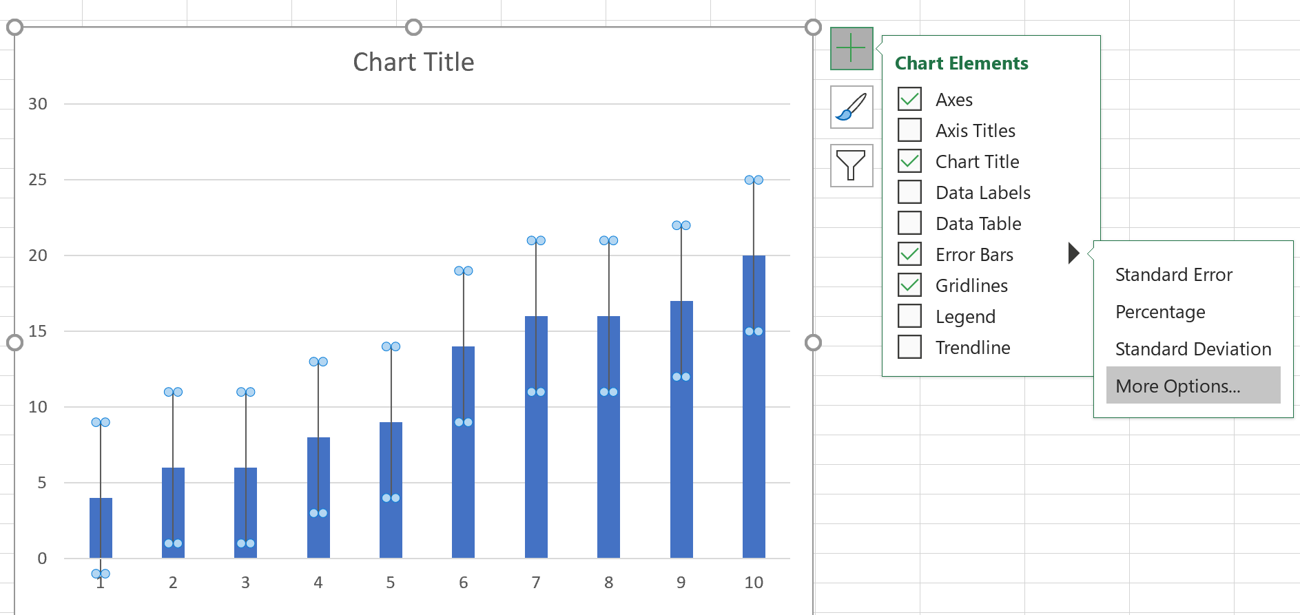 Error bars on bar chart in Excel
