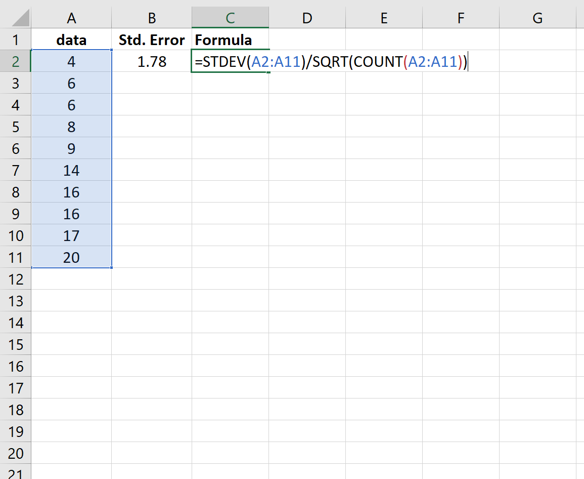 Standard error calculation in Excel