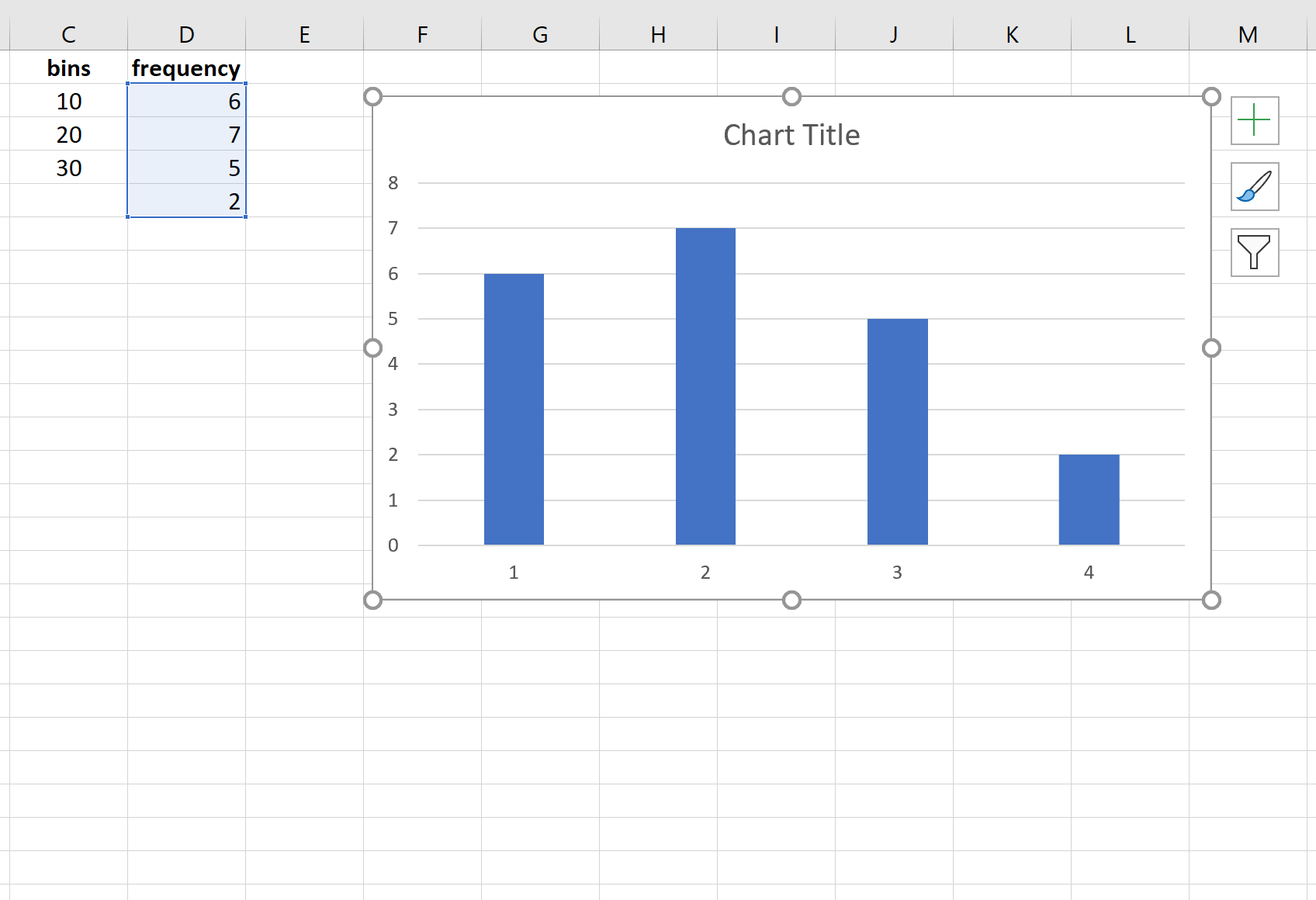 Visualizing a frequency distribution in Excel
