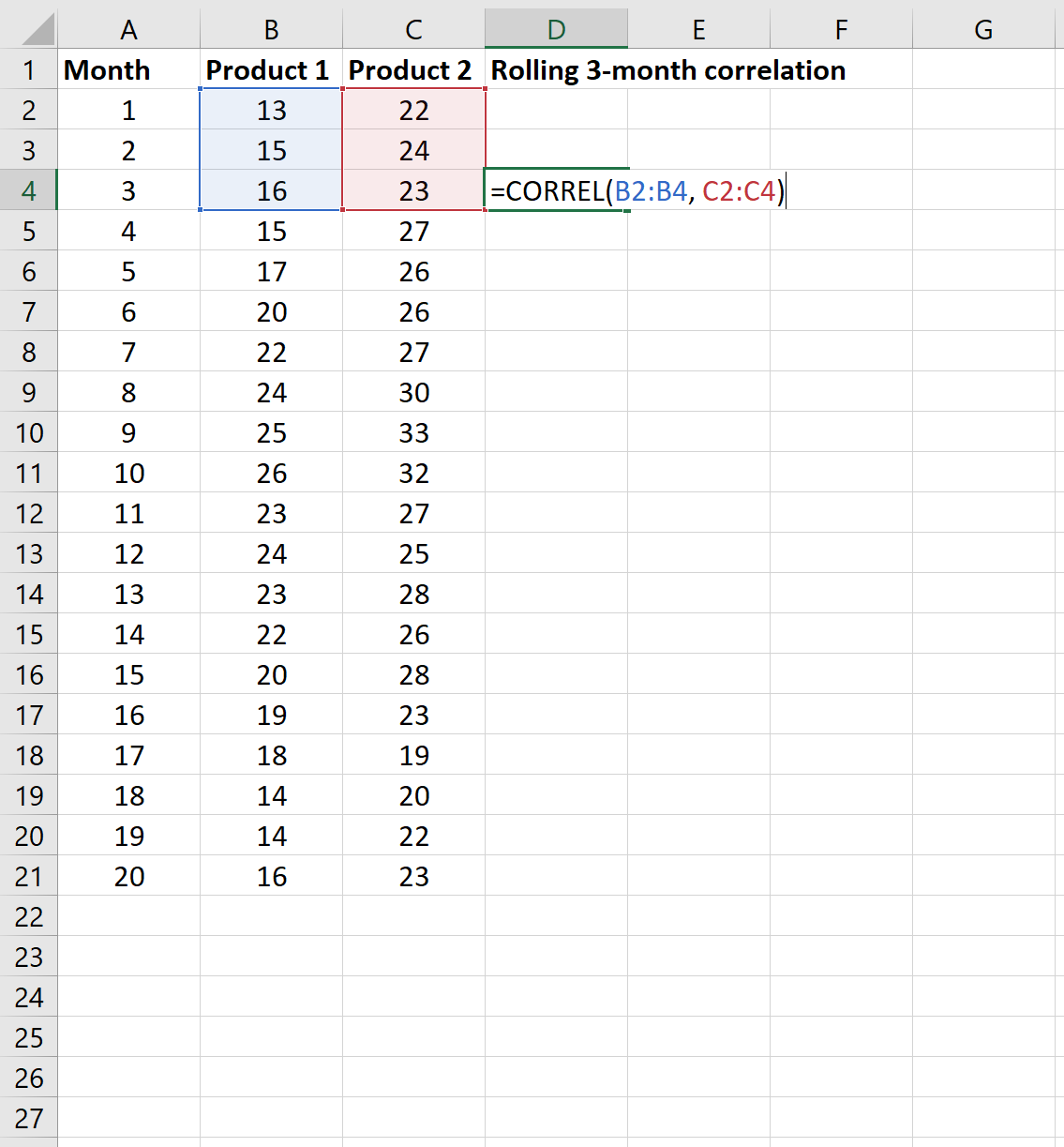 Rolling correlation example in Excel