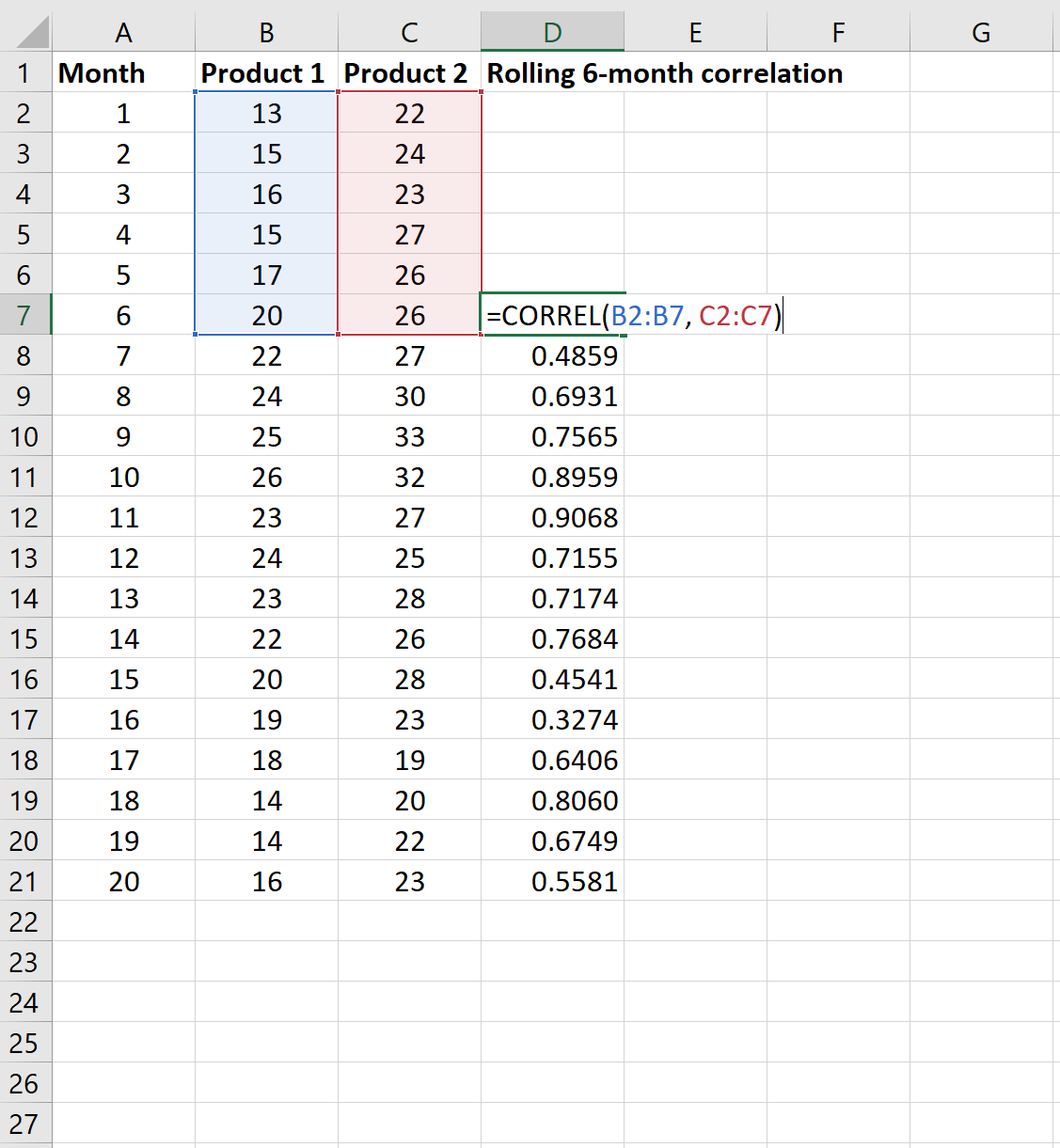 6-month rolling correlation in Excel