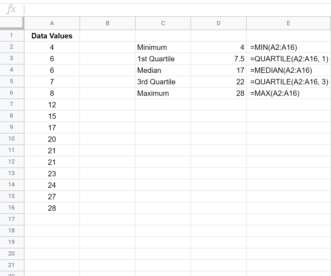 Five number summary in Google Sheets