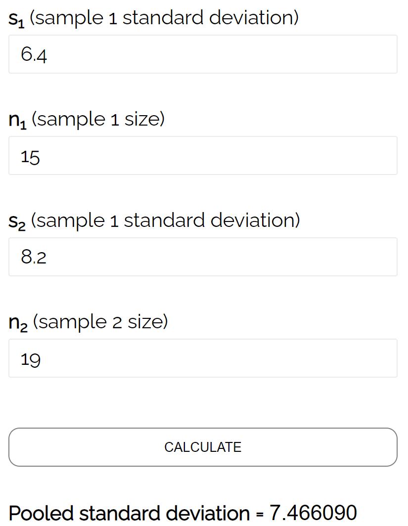 Pooled standard deviation calculator