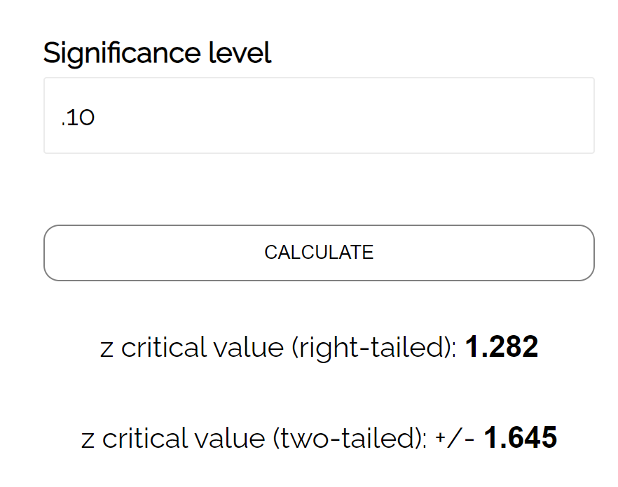 Z critical value calculator