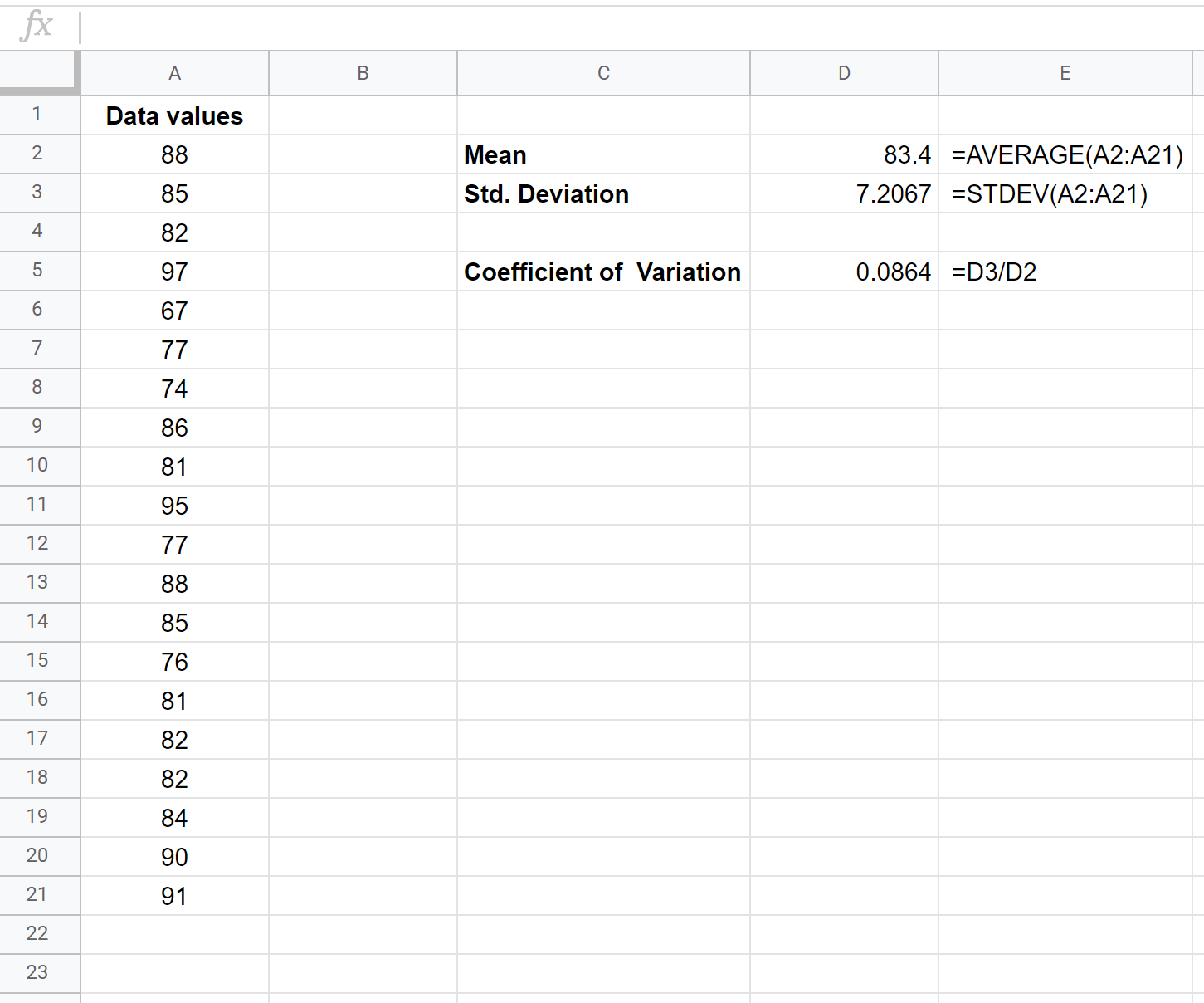 Coefficient of variation in Google Sheets