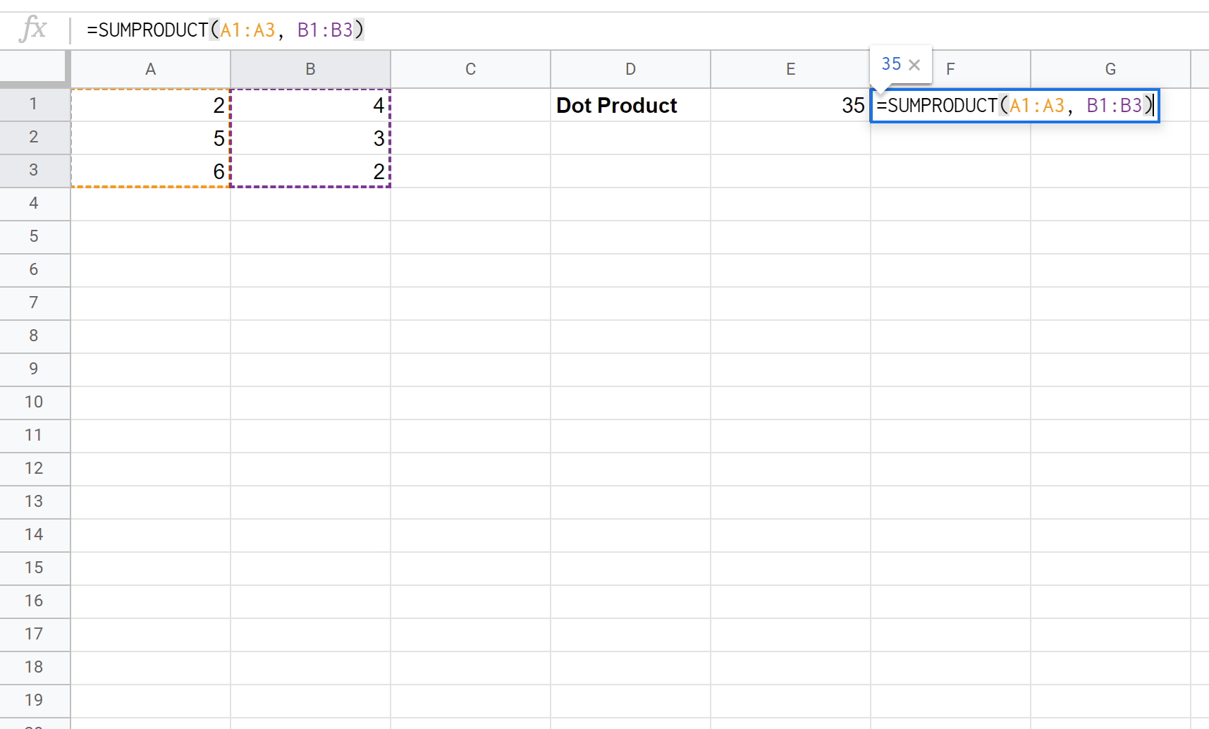 Dot product in Google Sheets