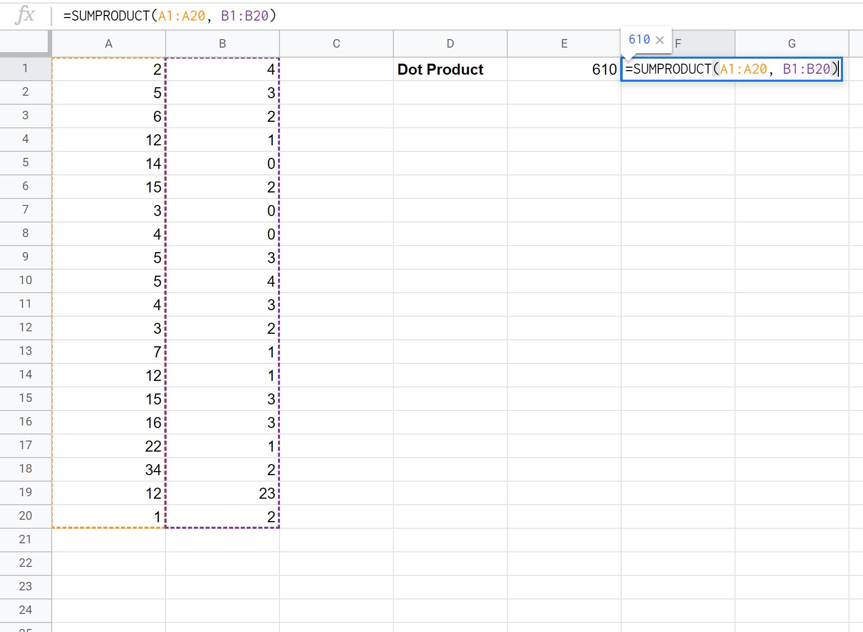 Dot product formula in Google Sheets