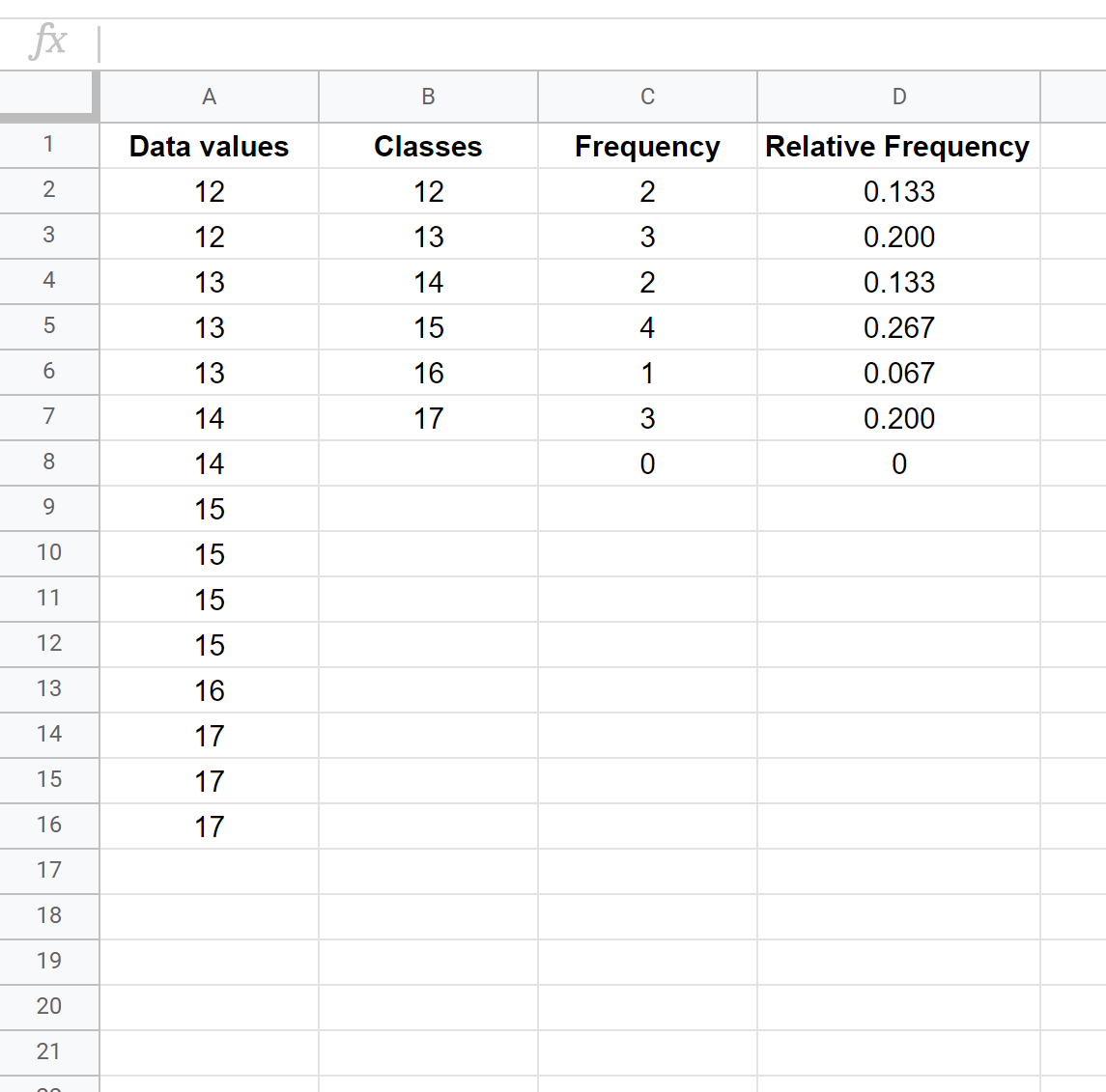 Relative frequencies in Google Sheets