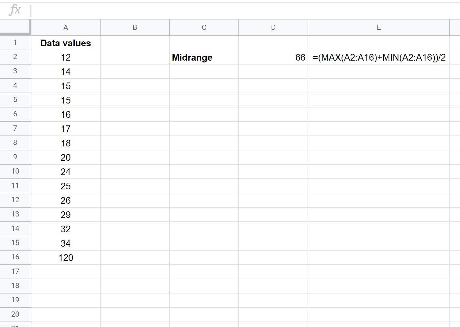 Midrange in Google Sheets