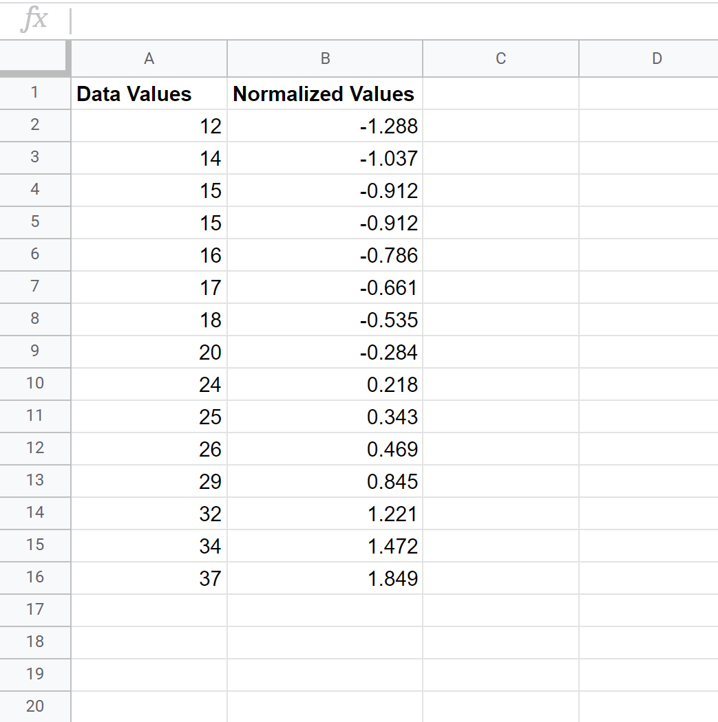 Normalized dataset in Google Sheets