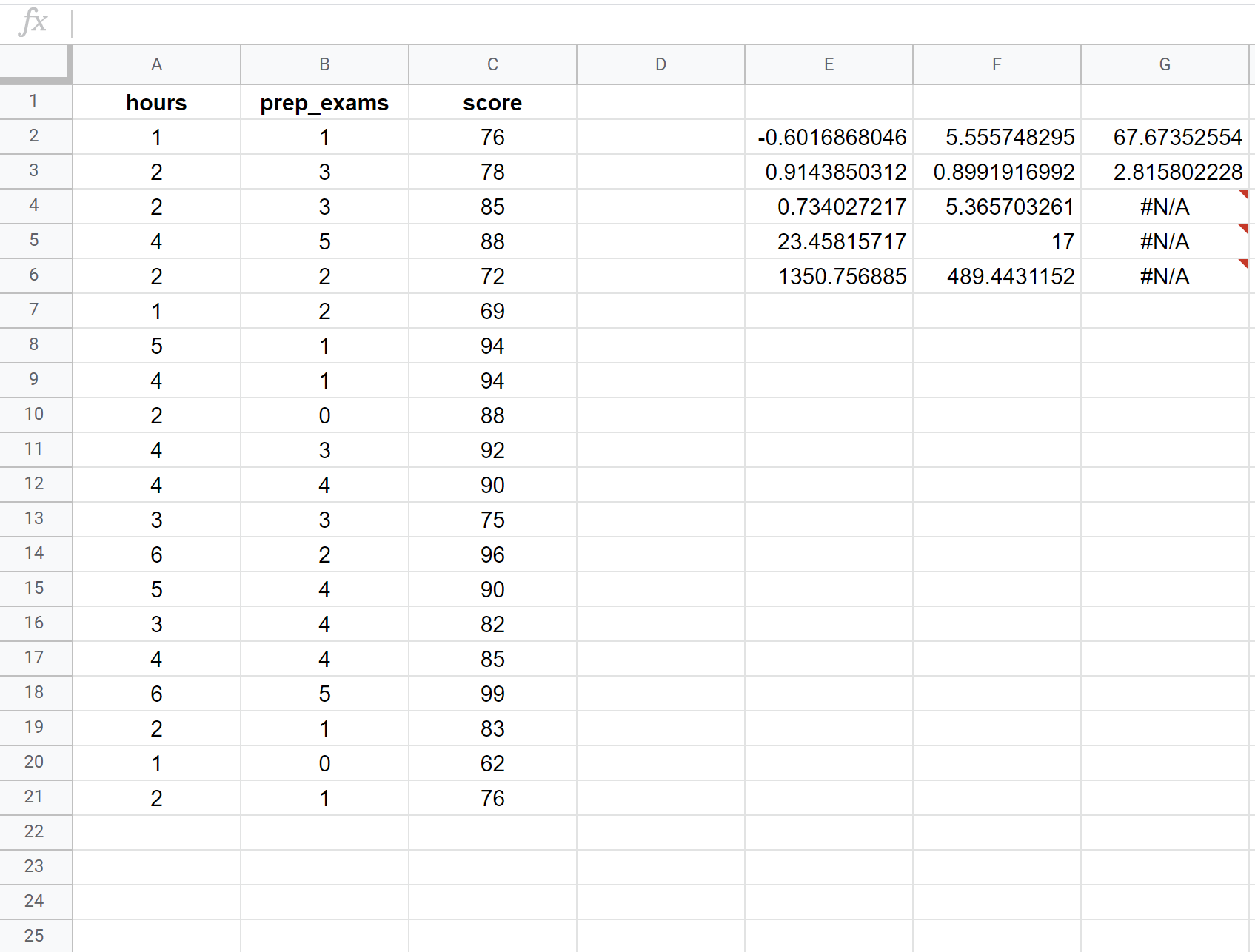 Multiple linear regression in Google Sheets