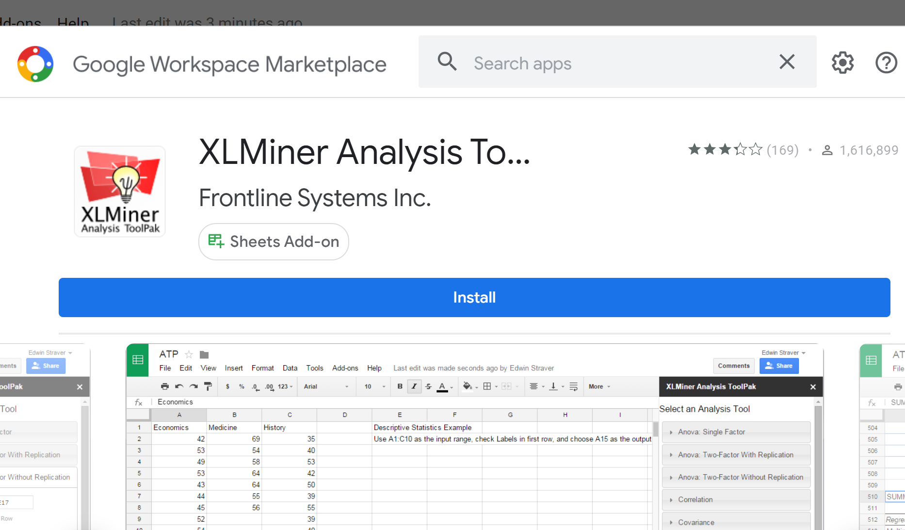 XLMiner Analysis Toolpak in Google Sheets