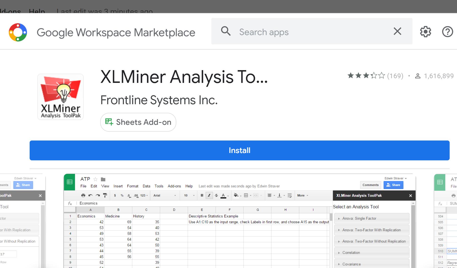 XLMiner Analysis Toolpak in Google Sheets