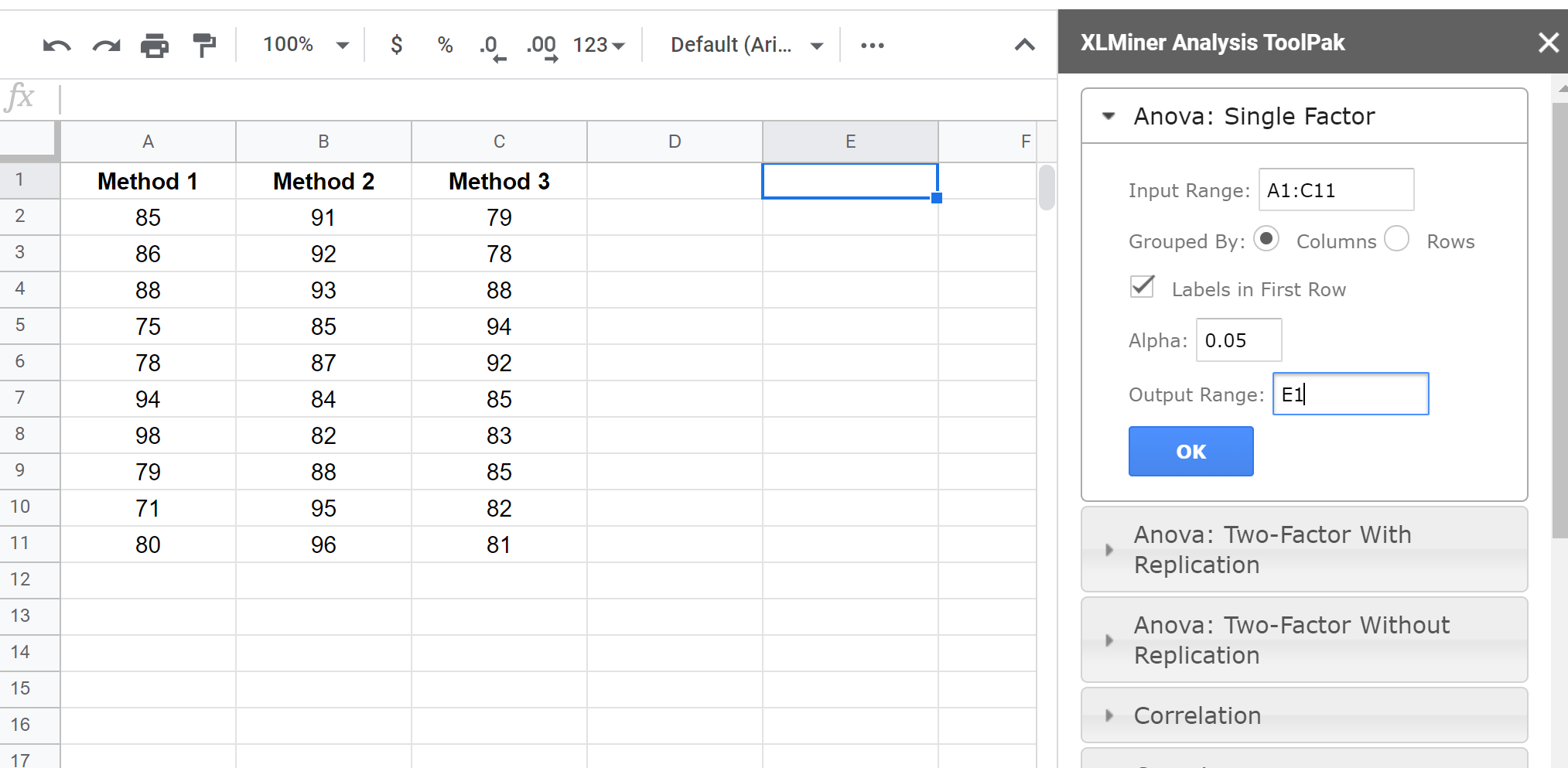 One-way ANOVA in Google Sheets