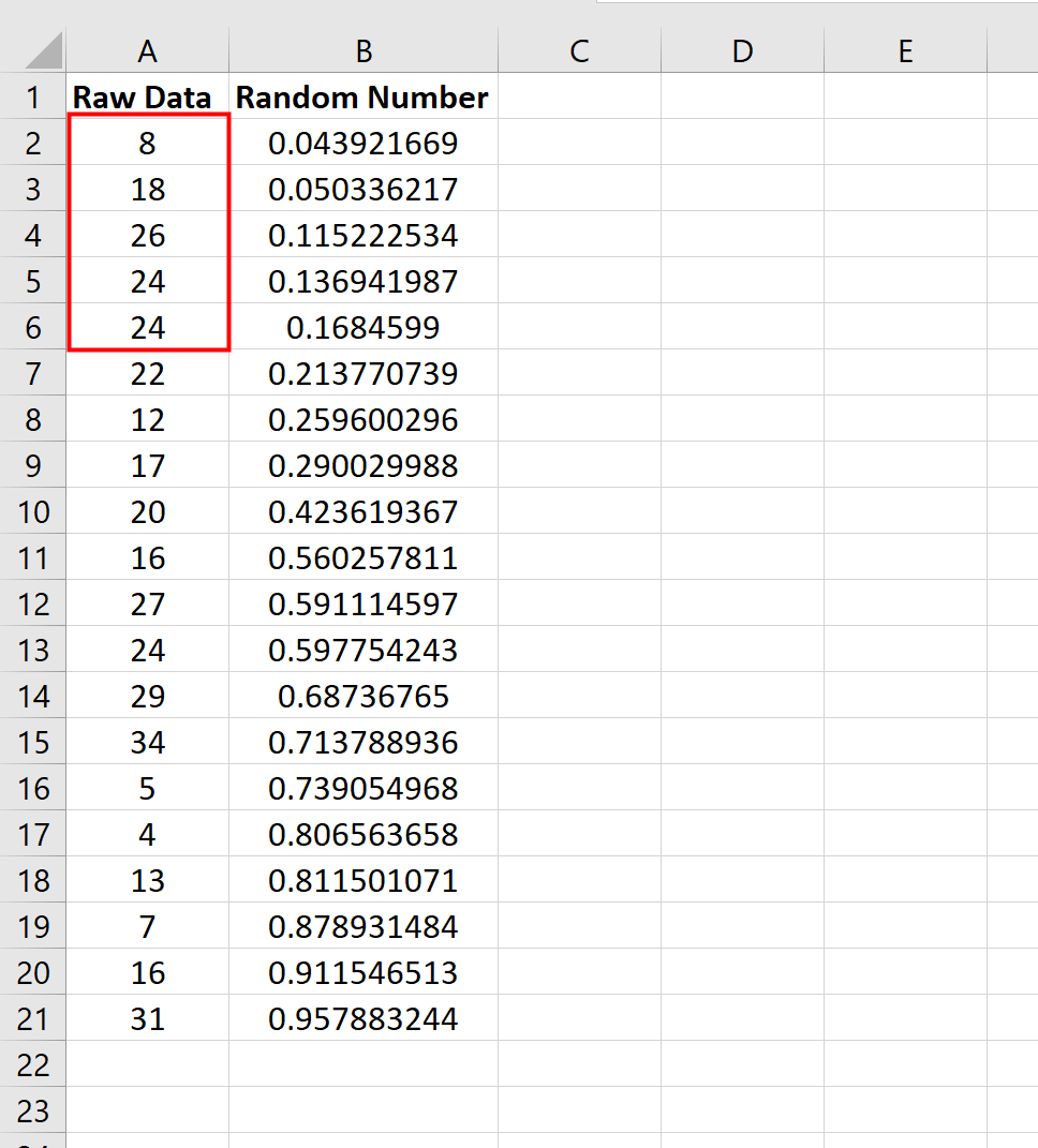 Select a random sample in Excel