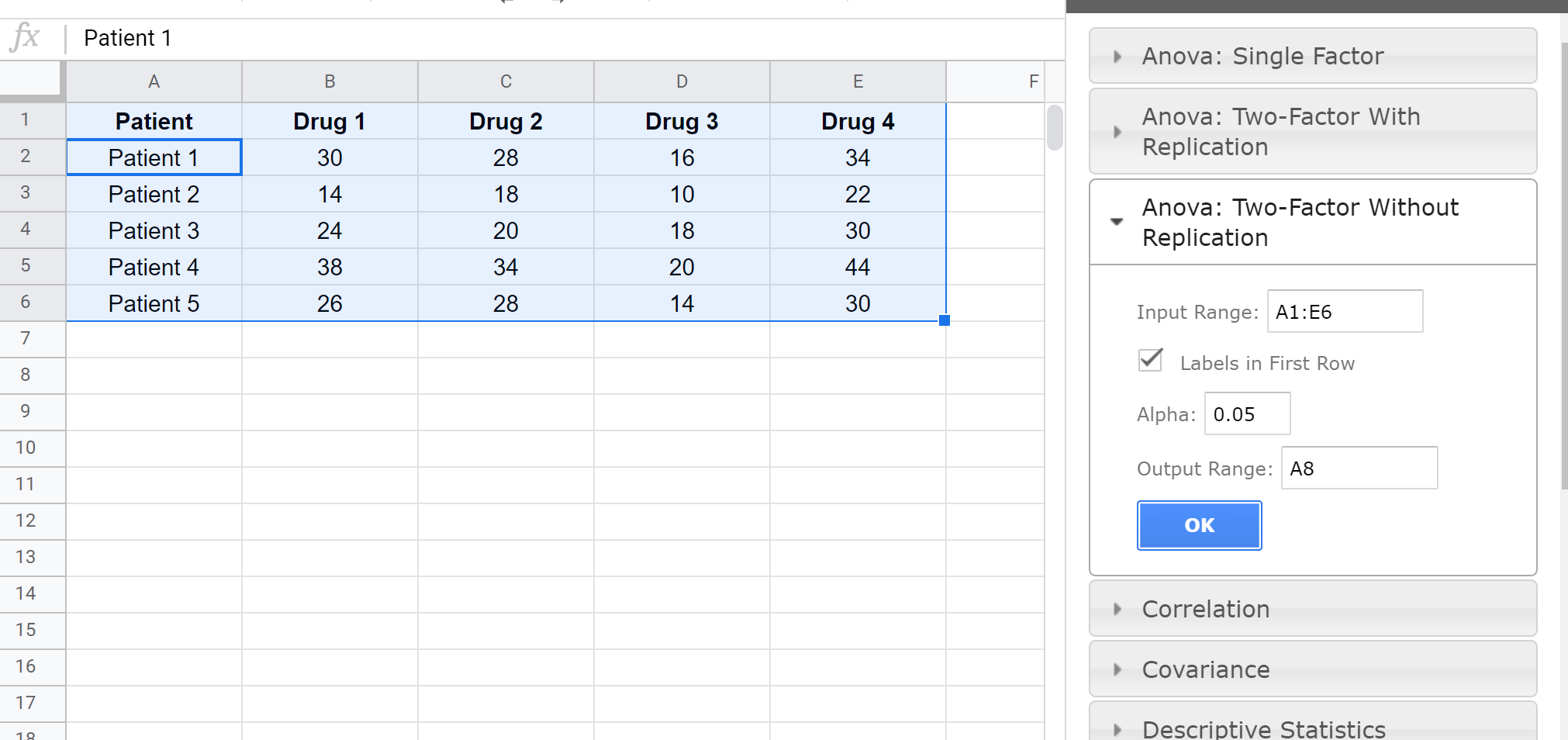 Repeated measures ANOVA in Google Sheets