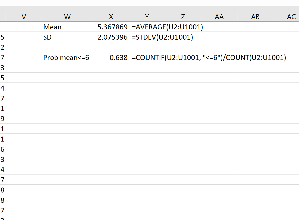 Sampling distribution example in Excel