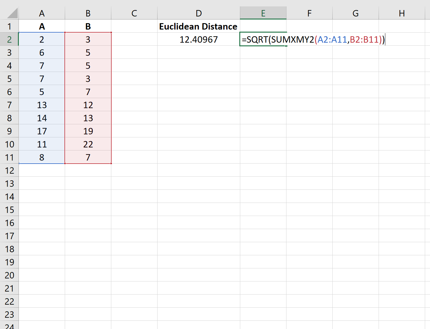Euclidean distance in Excel