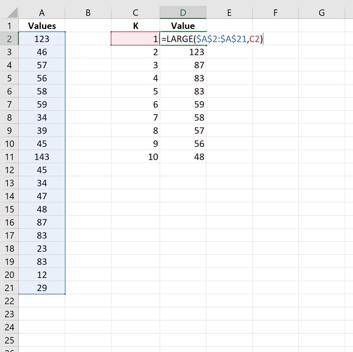 Find 10 largest values in list in Excel