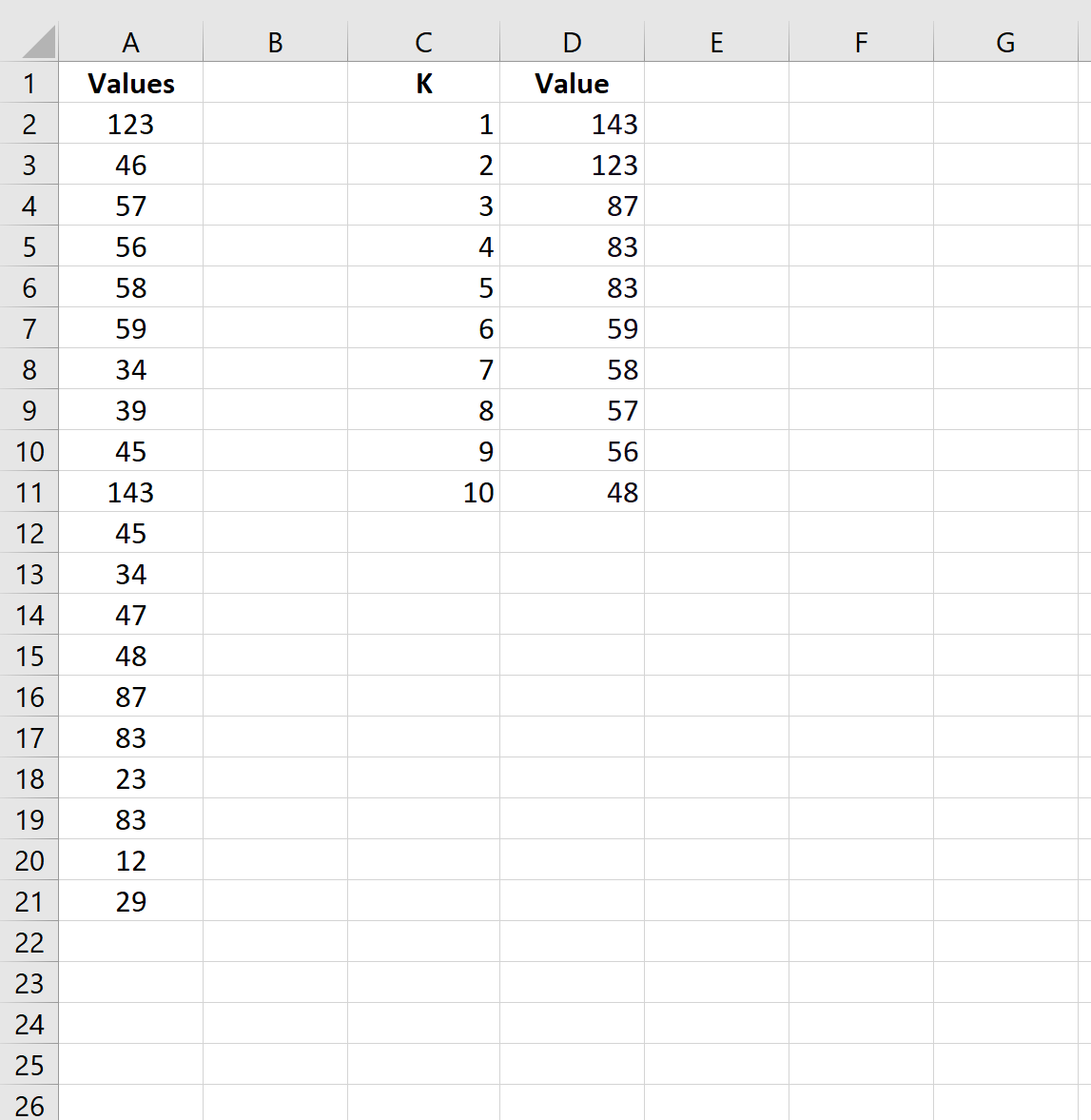 K largest values in list in Excel