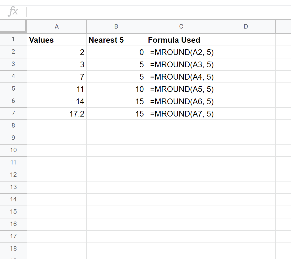 Round to the nearest 5 in Google Sheets