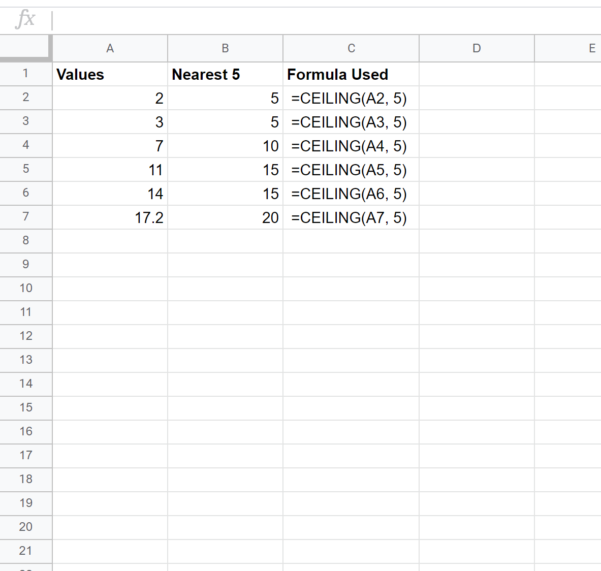 Round up to nearest 5 in Google Sheets