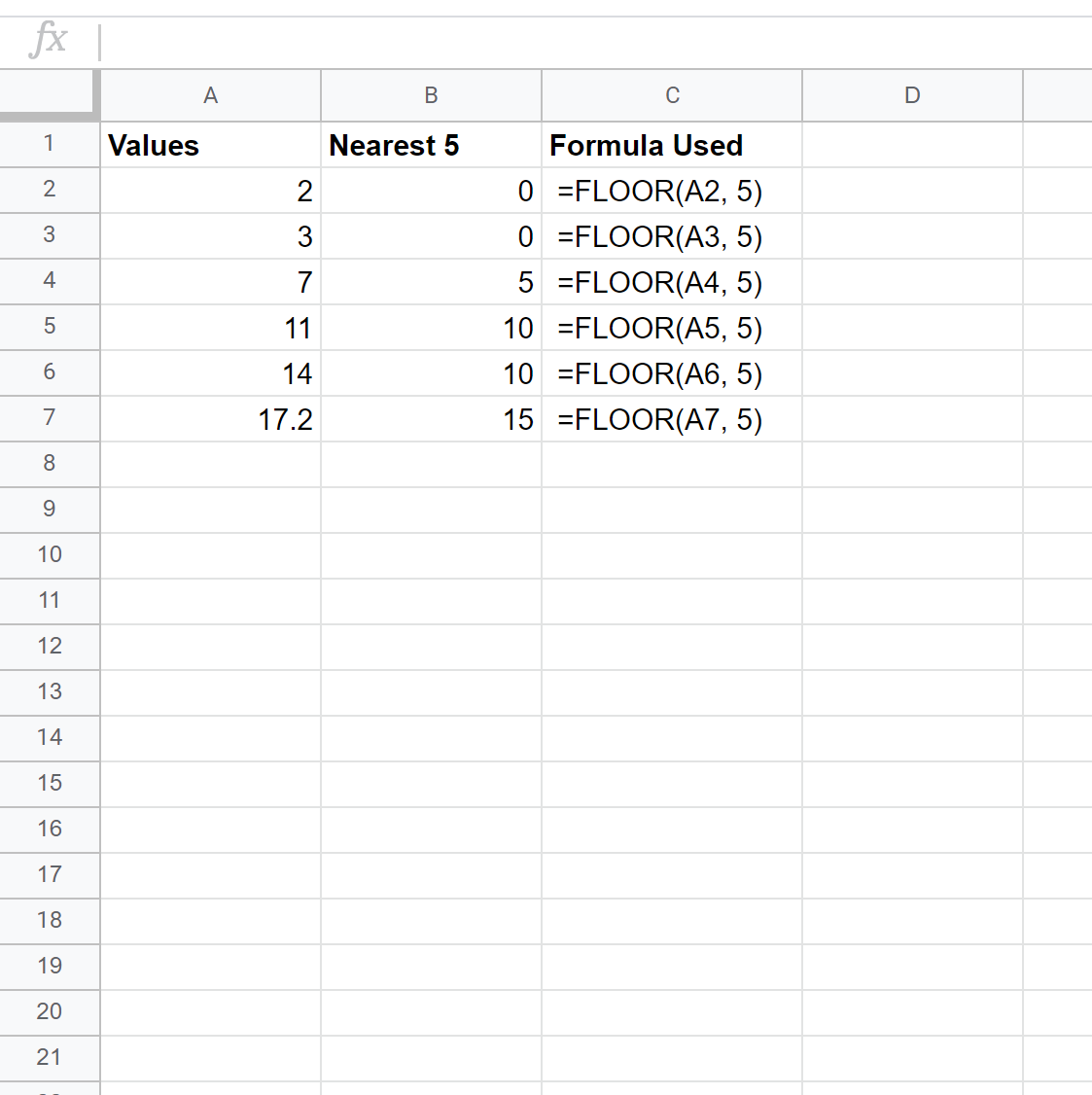 Round down to nearest 5 in Google Sheets
