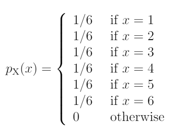 Probability mass function example