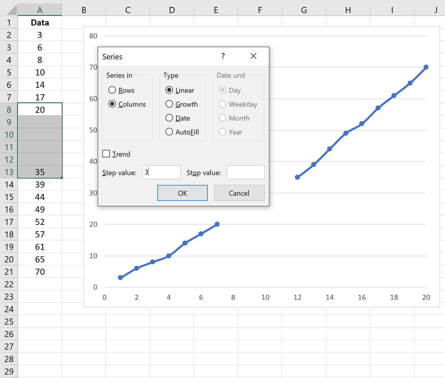 Linear fill a series in Excel