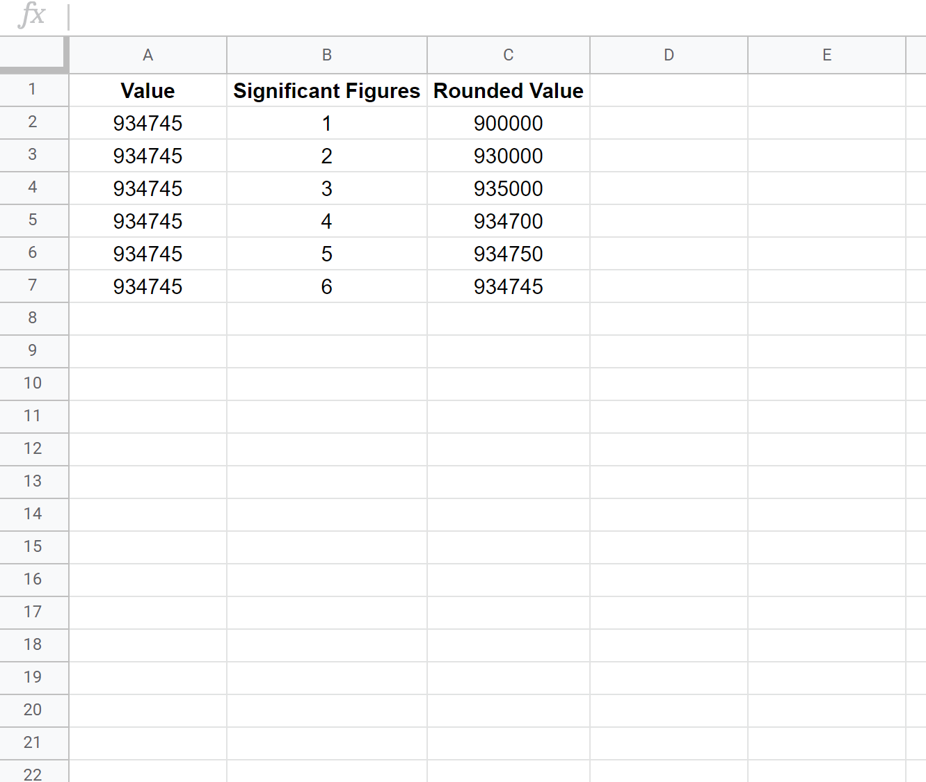 Rounding to significant figures in Google Sheets