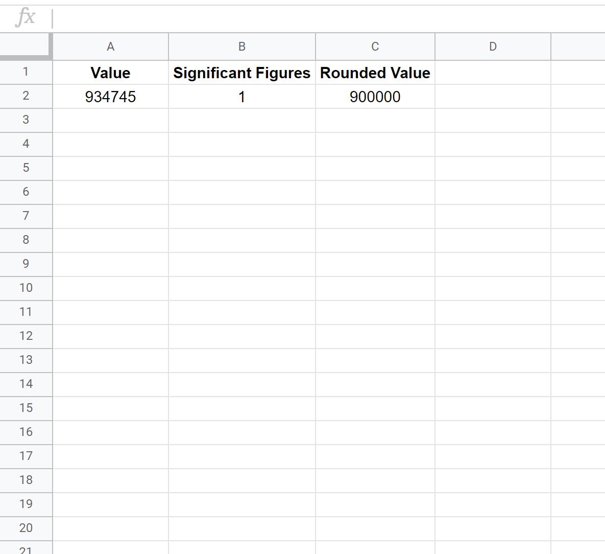 Google Sheets significant figures