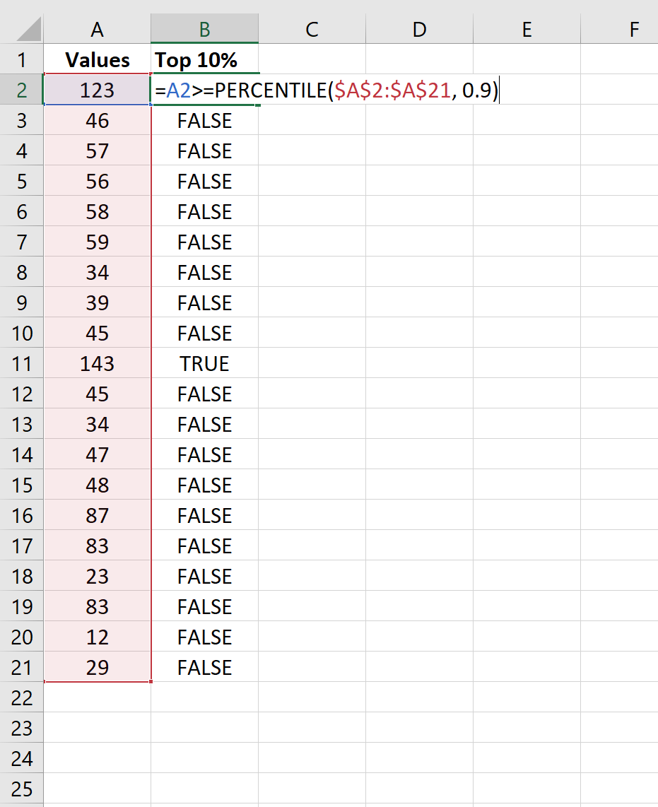 Find top 10% of values in Excel column