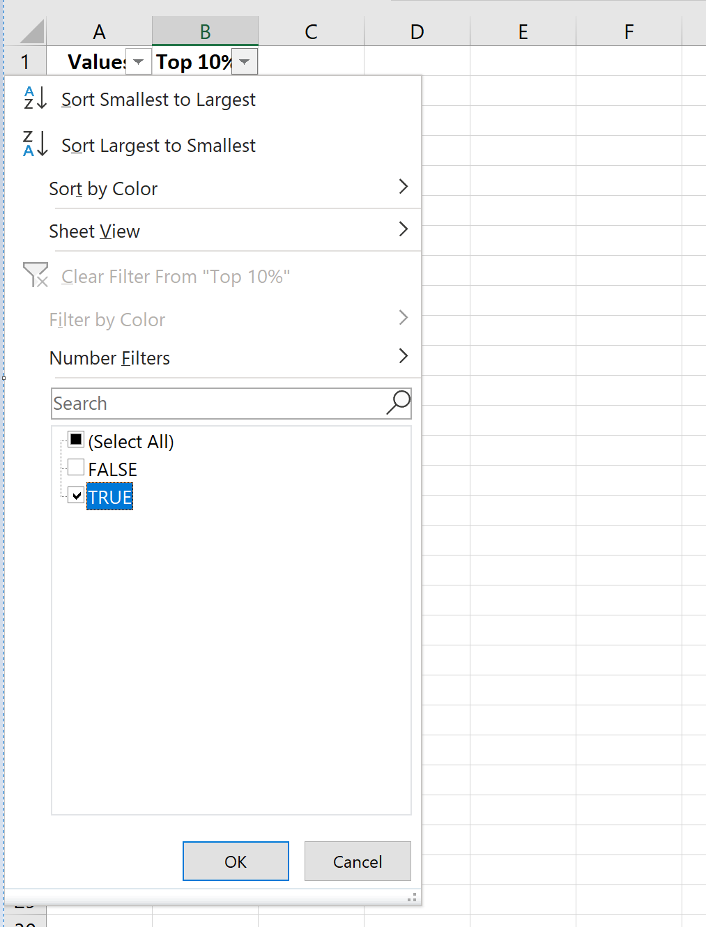 Filter top 10 percent of values in Excel