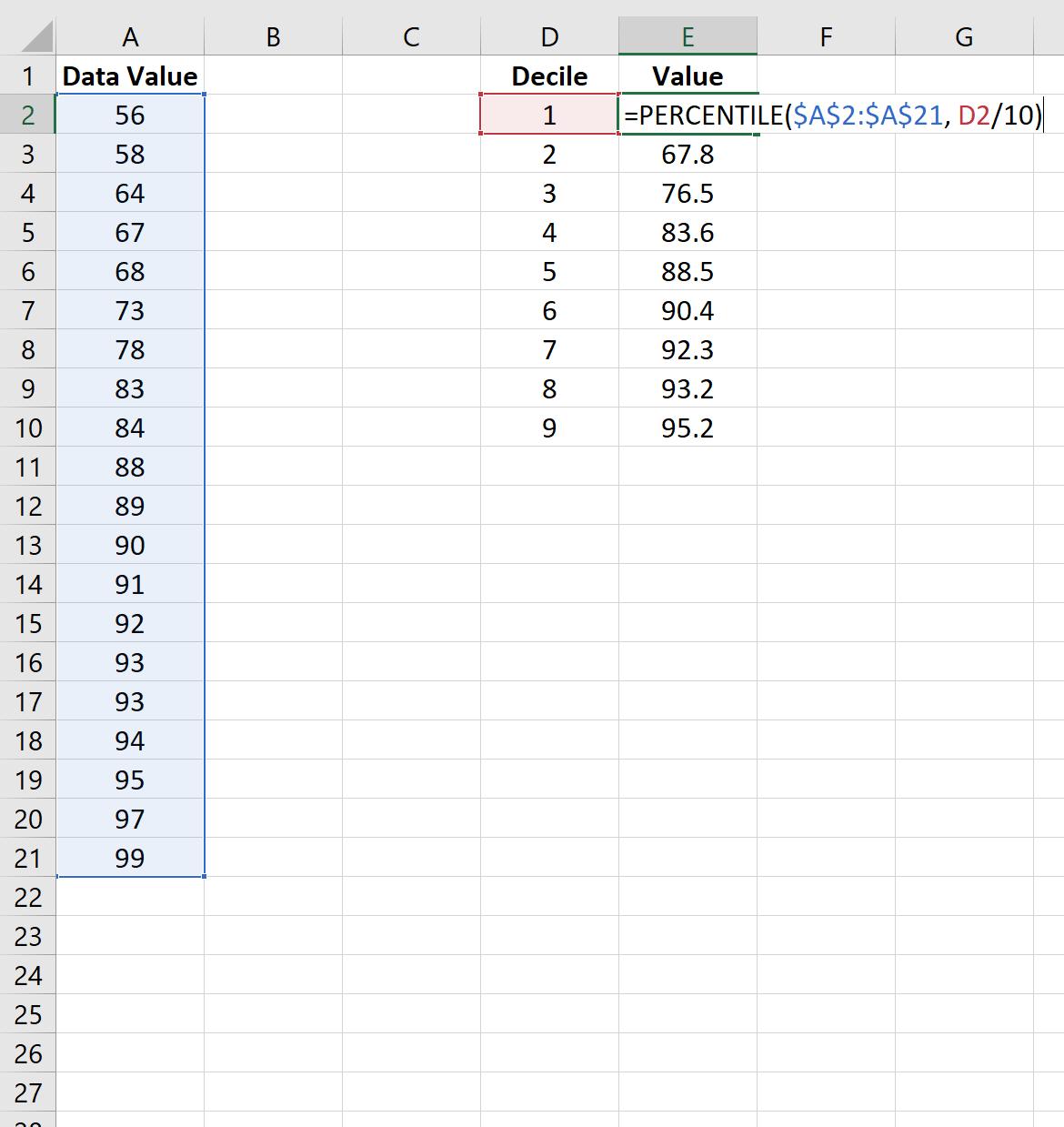 Deciles in Excel