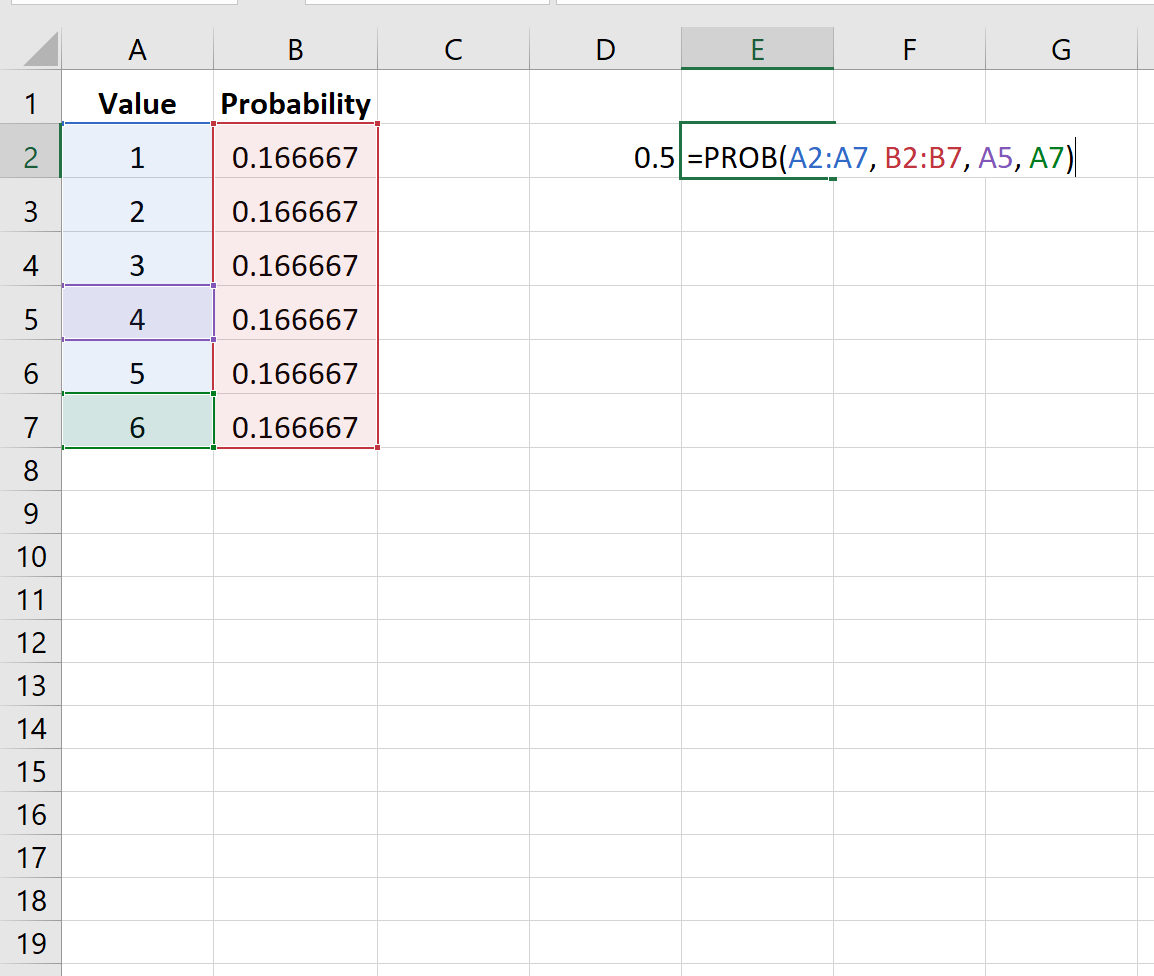 Calculating probability in Excel