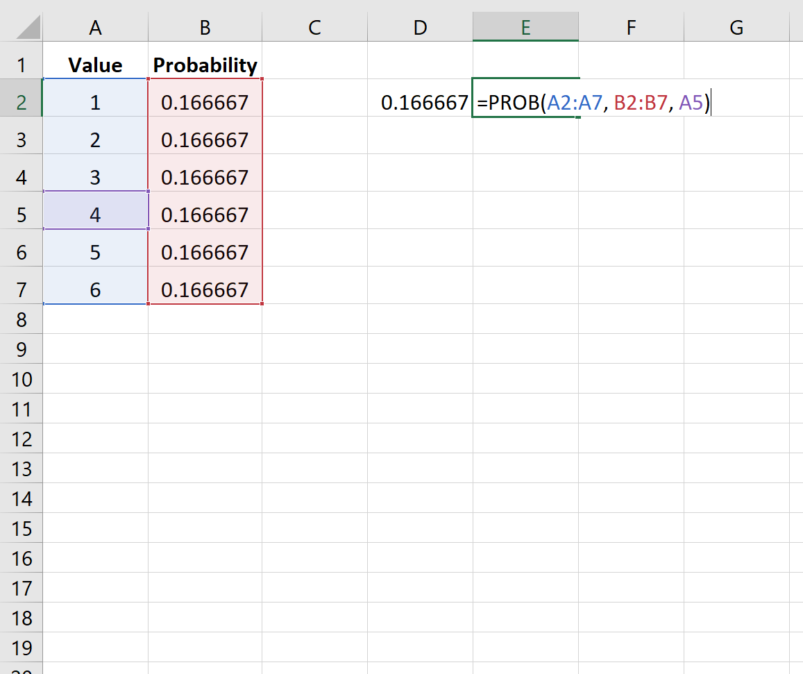Example of finding probability in Excel