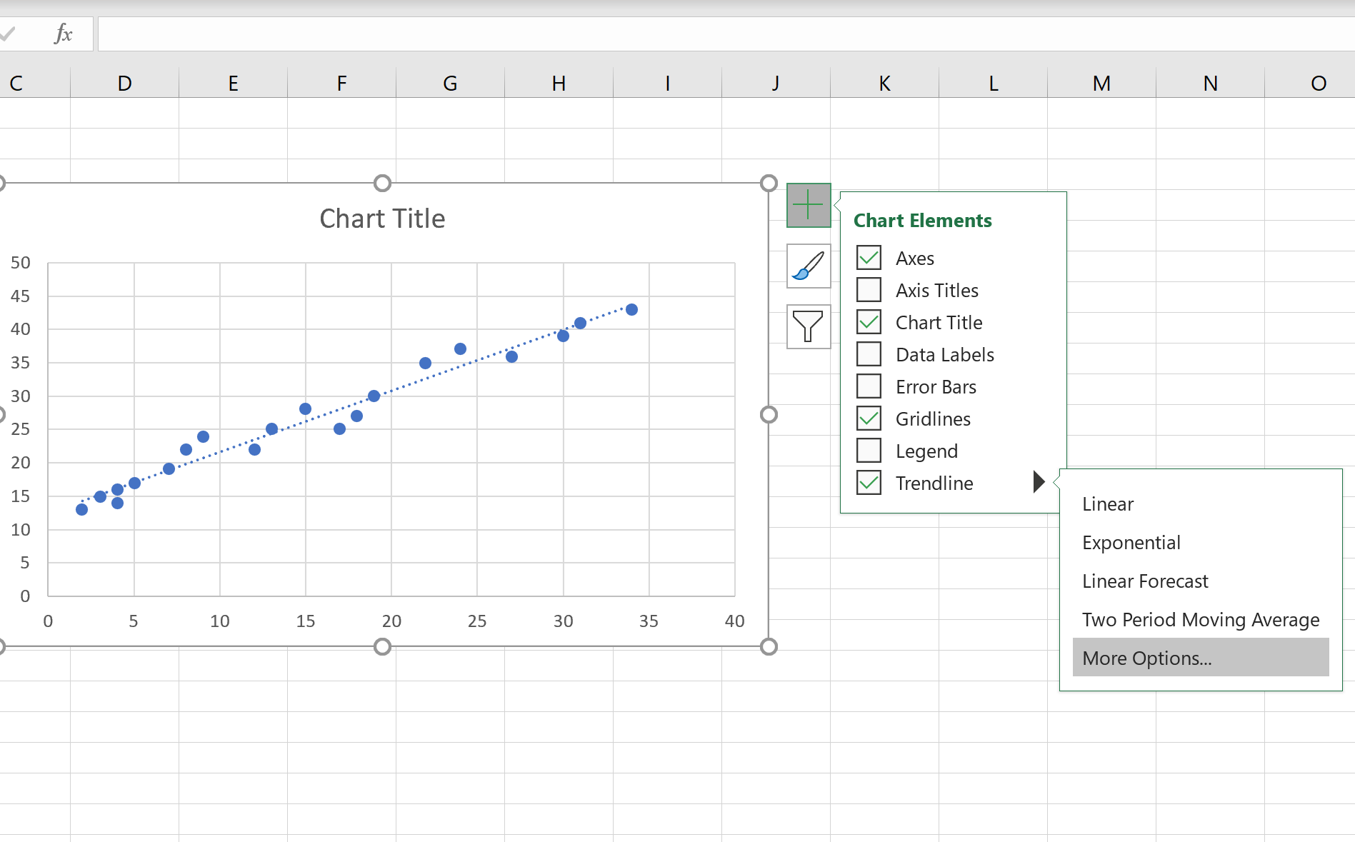 Add regression line to scatterplot in Excel