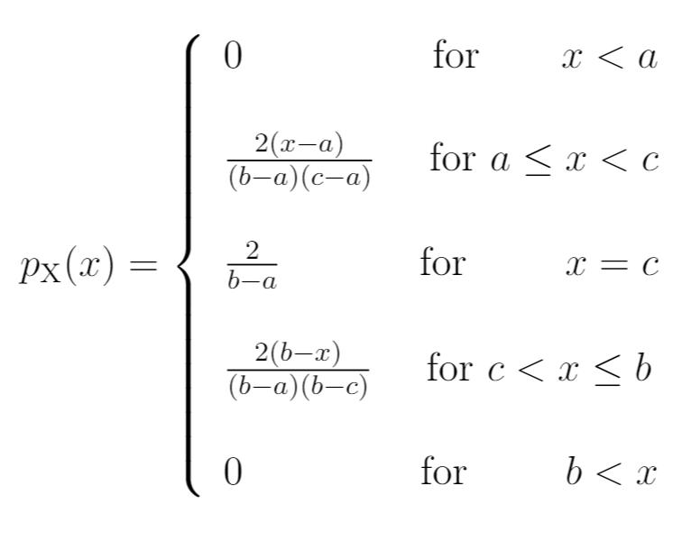 PDF for triangular distribution